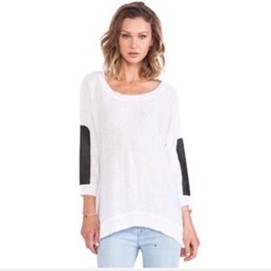 Central Park West Faux Leather Sleeve Linen Tunic